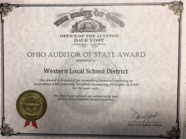 Western Receives Auditor of State Award